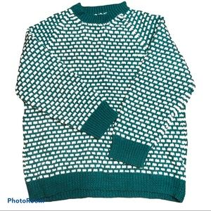 Hand knit M-L teal and white patterned sweater